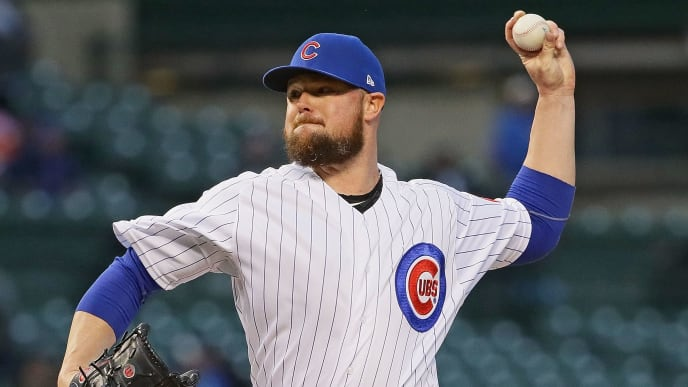 CHICAGO, ILLINOIS - MAY 07: Starting pitcher Jon Lester #34 of the Chicago Cubs delivers the ball against the Miami Marlins at Wrigley Field on May 07, 2019 in Chicago, Illinois. (Photo by Jonathan Daniel/Getty Images)