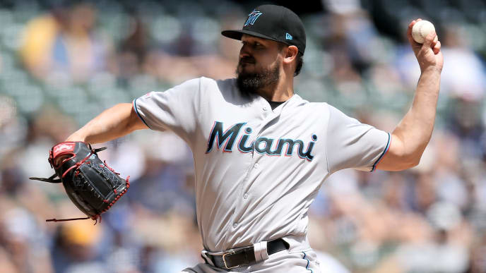 MILWAUKEE, WISCONSIN - JUNE 06:  Caleb Smith #31 of the Miami Marlins pitches in the first inning against the Milwaukee Brewers at Miller Park on June 06, 2019 in Milwaukee, Wisconsin. (Photo by Dylan Buell/Getty Images)