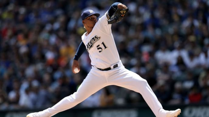 MILWAUKEE, WISCONSIN - JUNE 06:  Freddy Peralta #51 of the Milwaukee Brewers pitches in the third inning against the Miami Marlins at Miller Park on June 06, 2019 in Milwaukee, Wisconsin. (Photo by Dylan Buell/Getty Images)