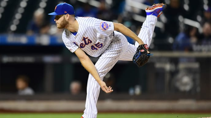 NEW YORK, NEW YORK - SEPTEMBER 26: Zack Wheeler #45 of the New York Mets follows through with a pitch in the first inning of their game against the Miami Marlins at Citi Field on September 26, 2019 in the Flushing neighborhood of the Queens borough in New York City. (Photo by Emilee Chinn/Getty Images)