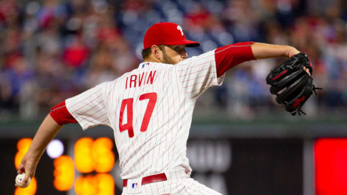 PHILADELPHIA, PA - SEPTEMBER 27: Cole Irvin #47 of the Philadelphia Phillies throws a pitch against the Miami Marlins at Citizens Bank Park on September 27, 2019 in Philadelphia, Pennsylvania. The Phillies defeated the Marlins 5-4 in fifteenth inning. (Photo by Mitchell Leff/Getty Images)