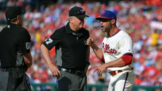 PHILADELPHIA, PA - JUNE 22: Manager Gabe Kapler #19 of the Philadelphia Phillies argues with umpires Chris Guccione #68 and Mike Everitt #57 in the fourth inning during the game against the Miami Marlins at Citizens Bank Park on June 22, 2019 in Philadelphia, Pennsylvania. (Photo by Drew Hallowell/Getty Images)