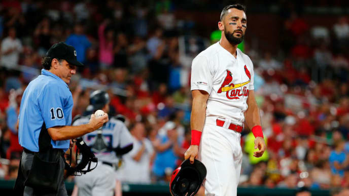 ST LOUIS, MO - JUNE 19: Matt Carpenter #13 of the St. Louis Cardinals reacts after striking out against the Miami Marlins in the fifth inning at Busch Stadium on June 19, 2019 in St Louis, Missouri. (Photo by Dilip Vishwanat/Getty Images)