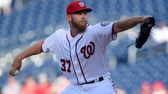 WASHINGTON, DC - JULY 03:  Stephen Strasburg #37 of the Washington Nationals pitches in the first inning against the Miami Marlins at Nationals Park on July 3, 2019 in Washington, DC.  (Photo by Greg Fiume/Getty Images)
