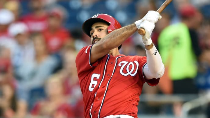 WASHINGTON, DC - AUGUST 31:  Anthony Rendon #6 of the Washington Nationals hits a solo home run in the first inning during a baseball game against the Miami Marlins at Nationals park on August 31, 2019 in Washington, DC.  (Photo by Mitchell Layton/Getty Images)