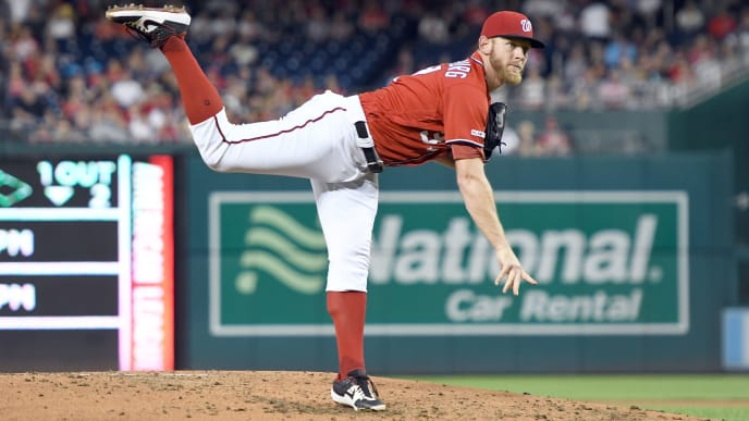 WASHINGTON, DC - AUGUST 31:  Stephen Strasburg #37 of the Washington Nationals pitches in the third inning during a baseball game against the Miami Marlins at Nationals Park on August 31, 2019 in Washington, DC.  (Photo by Mitchell Layton/Getty Images)