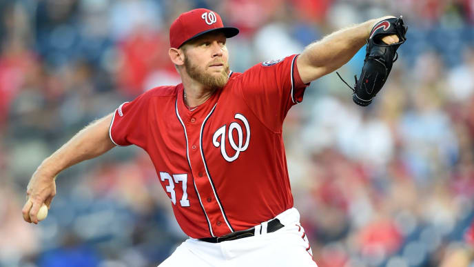 WASHINGTON, DC - AUGUST 31:  Stephen Strasburg #37 of the Washington Nationals pitches in the first inning during a baseball game against the Miami Marlins at Nationals park on August 31, 2019 in Washington, DC.  (Photo by Mitchell Layton/Getty Images)