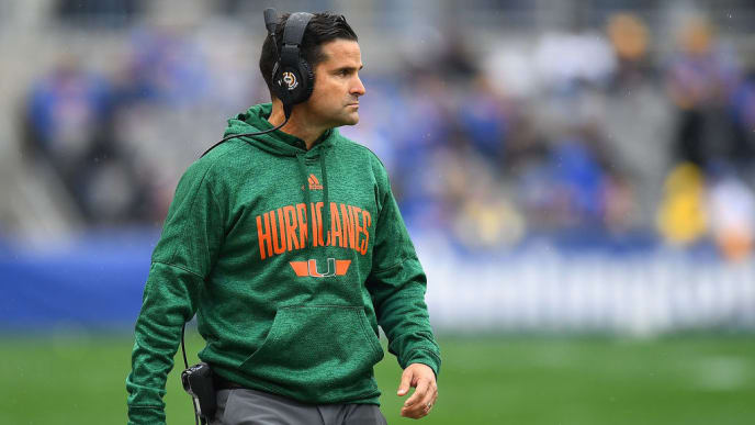 PITTSBURGH, PA - OCTOBER 26:  Head coach Manny Diaz of the Miami Hurricanes looks on during the first half agaisnt the Pittsburgh Panthers at Heinz Field on October 26, 2019 in Pittsburgh, Pennsylvania. (Photo by Joe Sargent/Getty Images)