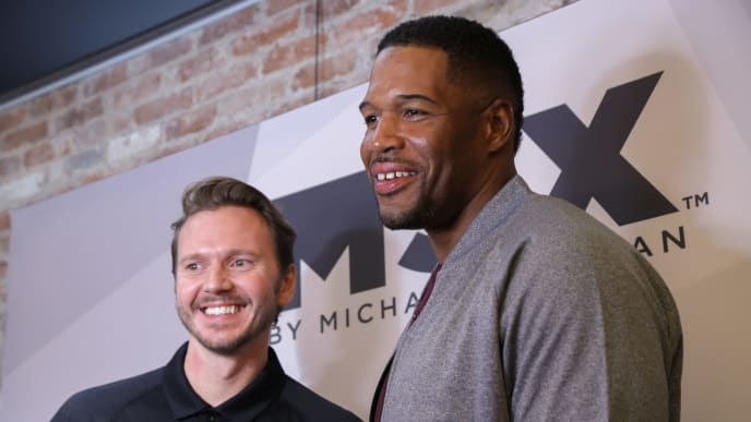 NEW YORK, NY - MAY 18:  Creative Director, Men's Private Label at JC Penny Stuart Billingham (L) and retired professional football player/television show host Michael Strahan attend the launch of Mr. Strahan's new MSX clothing line for JC Penney on May 18, 2016 in New York City.  (Photo by Brent N. Clarke/Getty Images)