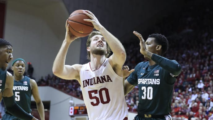 Joey Brunk attacks the basket during Indiana's win over Michigan State