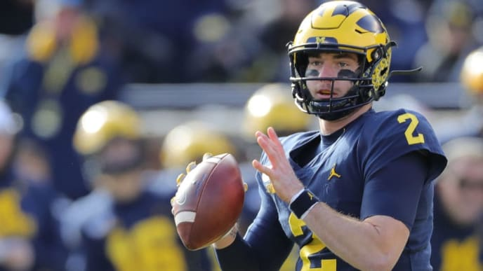 ANN ARBOR, MI - NOVEMBER 16: Shea Patterson #2 of the Michigan Wolverines drops back to pass during the third quarter of the game against the Michigan State Spartans at Michigan Stadium on November 16, 2019 in Ann Arbor, Michigan. Michigan defeated Michigan State 44-10. (Photo by Leon Halip/Getty Images)