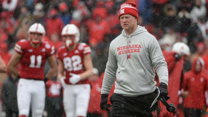 LINCOLN, NE - NOVEMBER 17: Head coach Scott Frost of the Nebraska Cornhuskers walks on the field during the game against the Michigan State Spartans at Memorial Stadium on November 17, 2018 in Lincoln, Nebraska. (Photo by Steven Branscombe/Getty Images)