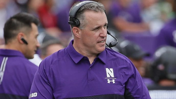 EVANSTON, ILLINOIS - SEPTEMBER 21: Head coach Pat Fitzgerald of the Northwestern Wildcats watches as his team takes on the Michigan State Spartans at Ryan Field on September 21, 2019 in Evanston, Illinois. (Photo by Jonathan Daniel/Getty Images)