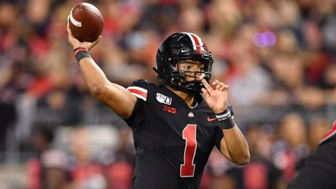COLUMBUS, OH - OCTOBER 5:  Quarterback Justin Fields #1 of the Ohio State Buckeyes throws a 21-yard touchdown pass in the second quarter against the Michigan State Spartans at Ohio Stadium on October 5, 2019 in Columbus, Ohio.  (Photo by Jamie Sabau/Getty Images)