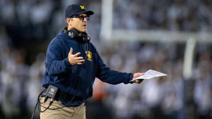UNIVERSITY PARK, PA - OCTOBER 19:  Head coach Jim Harbaugh of the Michigan Wolverines reacts to game action during the fourth quarter against the Penn State Nittany Lions on October 19, 2019 at Beaver Stadium in University Park, Pennsylvania. Penn State defeats Michigan 28-21.  (Photo by Brett Carlsen/Getty Images)