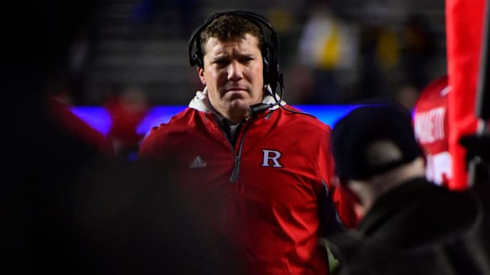 PISCATAWAY, NJ - NOVEMBER 10: Head coach Chris Ash of the Rutgers Scarlet Knights looks on against the Michigan Wolverines during the fourth quarter at HighPoint.com Stadium on November 10, 2018 in Piscataway, New Jersey. Michigan won 42-7. (Photo by Corey Perrine/Getty Images)