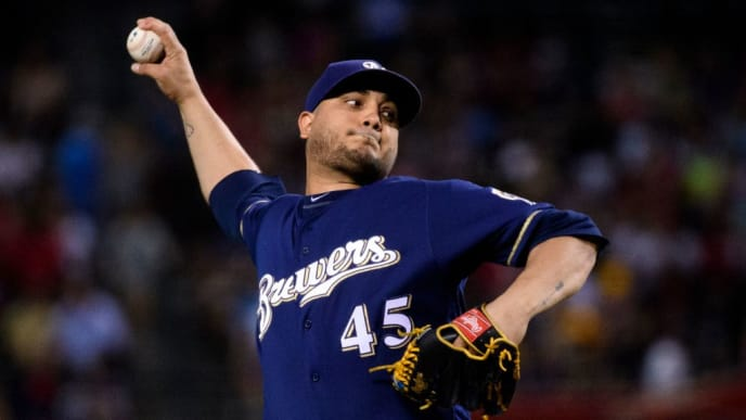 PHOENIX, ARIZONA - JULY 19: Jhoulys Chacin #45 of the Milwaukee Brewers delivers a pitch during the first inning of the MLB game against the Arizona Diamondbacks at Chase Field on July 19, 2019 in Phoenix, Arizona. (Photo by Jennifer Stewart/Getty Images)