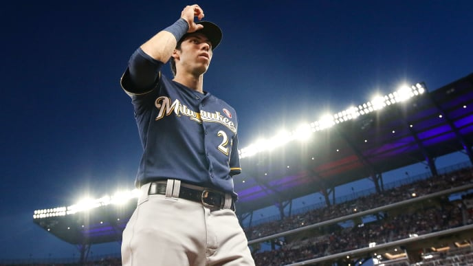 ATLANTA, GA - MAY 18: Christian Yelich #22 of the Milwaukee Brewers walks to the dugout during the game against the Atlanta Braves at SunTrust Park on May 18, 2019 in Atlanta, Georgia. (Photo by Carmen Mandato/Getty Images)