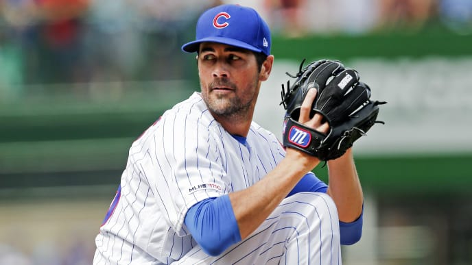 CHICAGO, ILLINOIS - AUGUST 31: Cole Hamels #35 of the Chicago Cubs  throws a pitch  during the game  against the Milwaukee Brewers at Wrigley Field on August 31, 2019 in Chicago, Illinois. (Photo by Nuccio DiNuzzo/Getty Images)