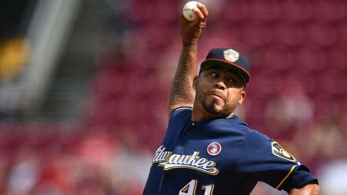 CINCINNATI, OH - JULY 4:  Junior Guerra #41 of the Milwaukee Brewers pitches in the eighth inning against the Cincinnati Reds at Great American Ball Park on July 4, 2019 in Cincinnati, Ohio. Cincinnati defeated Milwaukee 1-0.  (Photo by Jamie Sabau/Getty Images)