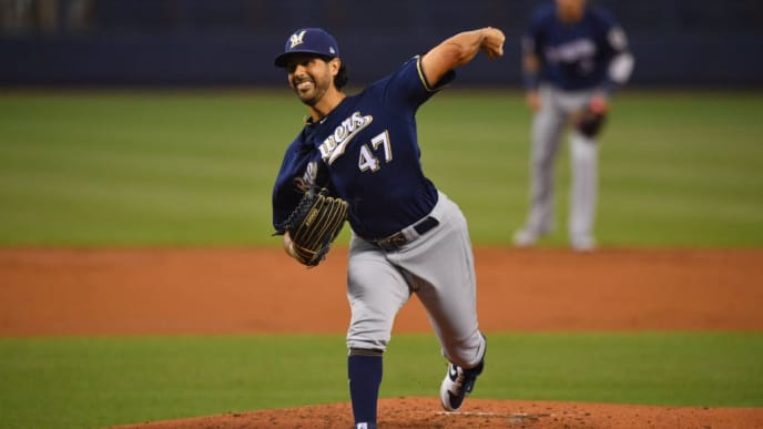 MIAMI, FL - SEPTEMBER 12: Gio Gonzalez #47 of the Milwaukee Brewers delivers a pitch against the Miami Marlins at Marlins Park on September 12, 2019 in Miami, Florida. (Photo by Mark Brown/Getty Images)