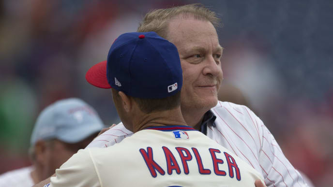 PHILADELPHIA, PA - JUNE 10: Manager Gabe Kapler #22 of the Philadelphia Phillies hugs Curt Schilling prior to the game against the Milwaukee Brewers at Citizens Bank Park on June 10, 2018 in Philadelphia, Pennsylvania. (Photo by Mitchell Leff/Getty Images)