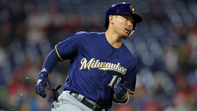 PHILADELPHIA, PA - MAY 14: Keston Hiura #18 of the Milwaukee Brewers runs to first base after hitting a single to left field in the eighth inning during a game against the Philadelphia Phillies at Citizens Bank Park on May 14, 2019 in Philadelphia, Pennsylvania. The Brewers won 6-1. (Photo by Hunter Martin/Getty Images)