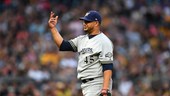PITTSBURGH, PA - MAY 31:  Jhoulys Chacin #45 of the Milwaukee Brewers reacts after waling Chris Archer #24 of the Pittsburgh Pirates (not pictured) to score a run during the third inning at PNC Park on May 31, 2019 in Pittsburgh, Pennsylvania. (Photo by Joe Sargent/Getty Images)