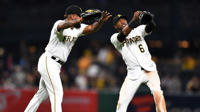 PITTSBURGH, PA - MAY 31:  Felipe Vazquez #73 celebrates with Starling Marte #6 of the Pittsburgh Pirates after a 9-4 win over the Milwaukee Brewers at PNC Park on May 31, 2019 in Pittsburgh, Pennsylvania. (Photo by Joe Sargent/Getty Images)