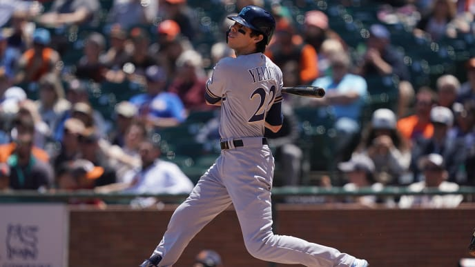 SAN FRANCISCO, CA - JUNE 16:  Christian Yelich #22 of the Milwaukee Brewers hits an rbi double scoring Ben Gamel #16 against the San Francisco Giants in the top of the fourth inning of a Major League Baseball game at Oracle Park on June 16, 2019 in San Francisco, California. The Brewers won the game 5-3. (Photo by Thearon W. Henderson/Getty Images)