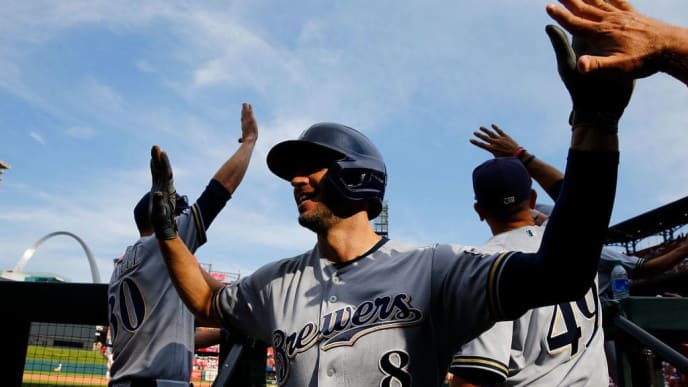 ST LOUIS, MO - SEPTEMBER 15: Ryan Braun #8 of the Milwaukee Brewers celebrates after hitting a grand slam against the St. Louis Cardinals in the eighth inning at Busch Stadium on September 15, 2019 in St Louis, Missouri. (Photo by Dilip Vishwanat/Getty Images)
