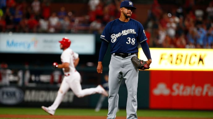 ST LOUIS, MO - AUGUST 19: Devin Williams #38 of the Milwaukee Brewers stands off the mound after giving up a home run to Paul DeJong #12 of the St. Louis Cardinals in the sixth inning at Busch Stadium on August 19, 2019 in St Louis, Missouri. (Photo by Dilip Vishwanat/Getty Images)