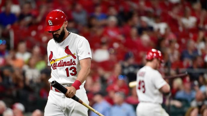 ST LOUIS, MO - AUGUST 21: Matt Carpenter #13 of the St. Louis Cardinals walks back to the dugout after striking out with runners in scoring position during the sixth inning against the Milwaukee Brewers at Busch Stadium on August 21, 2019 in St Louis, Missouri. (Photo by Jeff Curry/Getty Images)