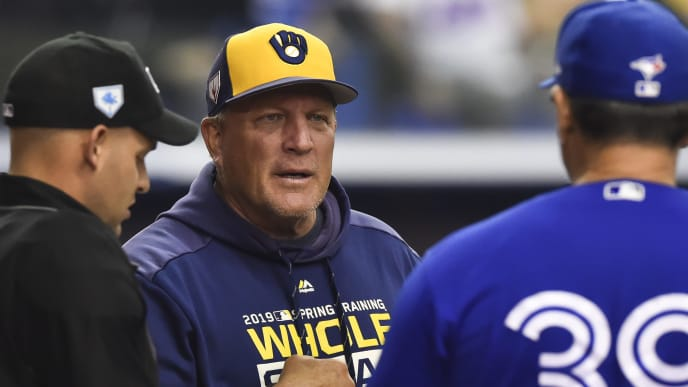 MONTREAL, QC - MARCH 26:  Bench coach Pat Murphy of the Milwaukee Brewers converses ahead of the game between the Toronto Blue Jays and the Milwaukee Brewers during MLB spring training at Olympic Stadium on March 26, 2019 in Montreal, Quebec, Canada.  The Toronto Blue Jays defeated the Milwaukee Brewers 2-0.  (Photo by Minas Panagiotakis/Getty Images)