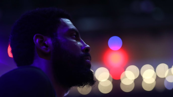 BOSTON, MASSACHUSETTS - MAY 06: Kyrie Irving #11 of the Boston Celtics looks on before Game 4 of the Eastern Conference Semifinals against the Milwaukee Bucks during the 2019 NBA Playoffs at TD Garden on May 06, 2019 in Boston, Massachusetts. (Photo by Maddie Meyer/Getty Images)