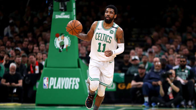BOSTON, MASSACHUSETTS - MAY 06: Kyrie Irving #11 of the Boston Celtics dribbles against the Milwaukee Bucks during the second quarter of Game 4 of the Eastern Conference Semifinals during the 2019 NBA Playoffs at TD Garden on May 06, 2019 in Boston, Massachusetts. (Photo by Maddie Meyer/Getty Images)