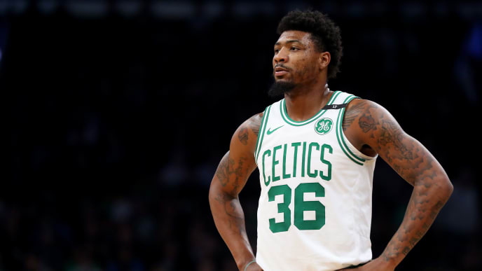 BOSTON, MASSACHUSETTS - MAY 06: Marcus Smart #36 of the Boston Celtics looks on during the second half of Game 4 of the Eastern Conference Semifinals against the Milwaukee Bucks during the 2019 NBA Playoffs at TD Garden on May 06, 2019 in Boston, Massachusetts. The Bucks defeat the Celtics 113-101. (Photo by Maddie Meyer/Getty Images)