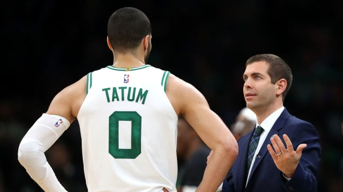 BOSTON, MASSACHUSETTS - MAY 03: Brad Stevens talks with Jayson Tatum #0 of the Boston Celtics during the second half of Game 3 of the Eastern Conference Semifinals against the Milwaukee Bucks during the 2019 NBA Playoffs at TD Garden on May 03, 2019 in Boston, Massachusetts. The Bucks defeat the Celtics 123 - 116.  (Photo by Maddie Meyer/Getty Images)
