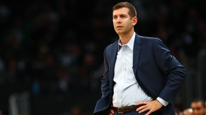 BOSTON, MA - OCTOBER 30:  Head coach of the Boston Celtics Brad Stevens looks on during a game against the Milwaukee Bucks at TD Garden on October 30, 2019 in Boston, Massachusetts. NOTE TO USER: User expressly acknowledges and agrees that, by downloading and or using this photograph, User is consenting to the terms and conditions of the Getty Images License Agreement. (Photo by Adam Glanzman/Getty Images)