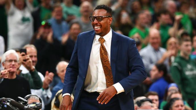 BOSTON, MA - OCTOBER 30:  Former Boston Celtics player Paul Pierce looks on during a game against the Milwaukee Bucks at TD Garden on October 30, 2019 in Boston, Massachusetts. NOTE TO USER: User expressly acknowledges and agrees that, by downloading and or using this photograph, User is consenting to the terms and conditions of the Getty Images License Agreement. (Photo by Adam Glanzman/Getty Images)