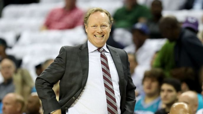 CHARLOTTE, NC - OCTOBER 17:  Head coach Mike Budenholzer of the Milwaukee Bucks watches on against the Charlotte Hornets during their game at Spectrum Center on October 17, 2018 in Charlotte, North Carolina. NOTE TO USER: User expressly acknowledges and agrees that, by downloading and or using this photograph, User is consenting to the terms and conditions of the Getty Images License Agreement.  (Photo by Streeter Lecka/Getty Images)