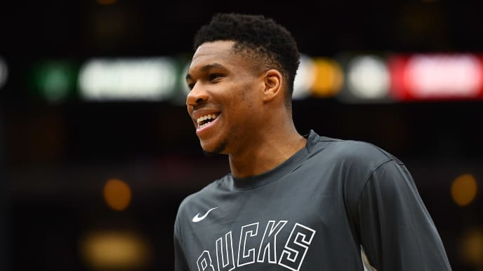 CHICAGO, ILLINOIS - OCTOBER 07:  Giannis Antetokounmpo #34 of the Milwaukee Bucks watches action during a game against the Chicago Bulls at the United Center on October 07, 2019 in Chicago, Illinois. NOTE TO USER: User expressly acknowledges and agrees that, by downloading and or using this photograph, User is consenting to the terms and conditions of the Getty Images License Agreement. (Photo by Stacy Revere/Getty Images)