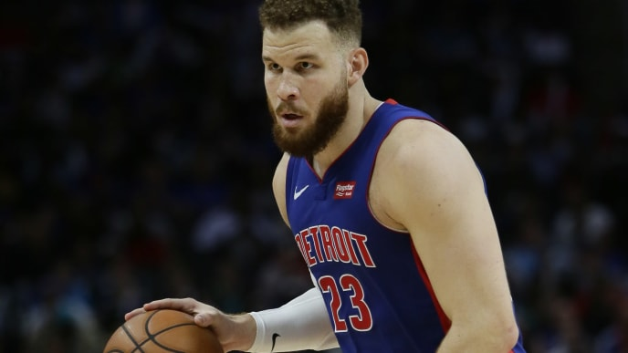 DETROIT, MI - APRIL 22:  Blake Griffin #23 of the Detroit Pistons during the second quarter of Game Four of the first round of the 2019 NBA Eastern Conference Playoffs against the Milwaukee Bucks at Little Caesars Arena on April 22, 2019 in Detroit, Michigan. NOTE TO USER: User expressly acknowledges and agrees that, by downloading and or using this photograph, User is consenting to the terms and conditions of the Getty Images License Agreement. (Photo by Duane Burleson/Getty Images)