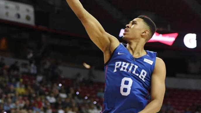 LAS VEGAS, NEVADA - JULY 05:  Zhaire Smith #8 of the Philadelphia 76ers drives to the basket against the Milwaukee Bucks during the 2019 NBA Summer League at the Thomas & Mack Center on July 5, 2019 in Las Vegas, Nevada. NOTE TO USER: User expressly acknowledges and agrees that, by downloading and or using this photograph, User is consenting to the terms and conditions of the Getty Images License Agreement.  (Photo by Ethan Miller/Getty Images)