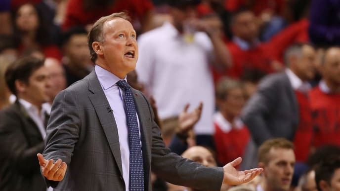TORONTO, ONTARIO - MAY 21: Head coach Mike Budenholzer of the Milwaukee Bucks reacts during the first half in game four of the NBA Eastern Conference Finals against the Toronto Raptors at Scotiabank Arena on May 21, 2019 in Toronto, Canada. NOTE TO USER: User expressly acknowledges and agrees that, by downloading and or using this photograph, User is consenting to the terms and conditions of the Getty Images License Agreement. (Photo by Gregory Shamus/Getty Images)