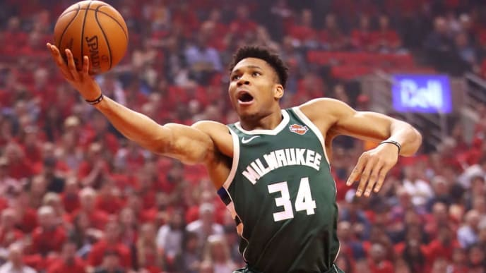TORONTO, ONTARIO - MAY 19: Giannis Antetokounmpo #34 of the Milwaukee Bucks drives to the basket during the first half against the Toronto Raptors in game three of the NBA Eastern Conference Finals at Scotiabank Arena on May 19, 2019 in Toronto, Canada. NOTE TO USER: User expressly acknowledges and agrees that, by downloading and or using this photograph, User is consenting to the terms and conditions of the Getty Images License Agreement. (Photo by Gregory Shamus/Getty Images)