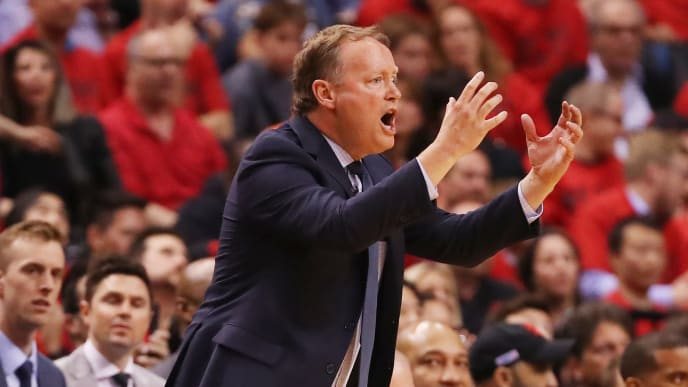 TORONTO, ONTARIO - MAY 19: Head coach Mike Budenholzer of the Milwaukee Bucks reacts in game three of the NBA Eastern Conference Finals against the Toronto Raptors at Scotiabank Arena on May 19, 2019 in Toronto, Canada. NOTE TO USER: User expressly acknowledges and agrees that, by downloading and or using this photograph, User is consenting to the terms and conditions of the Getty Images License Agreement. (Photo by Gregory Shamus/Getty Images)