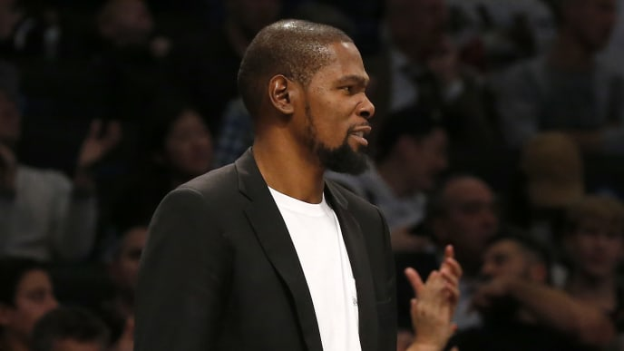 NEW YORK, NEW YORK - OCTOBER 23:   (NEW YORK DAILIES OUT)   Kevin Durant #7 of the Brooklyn Nets looks on from the bench during a game against the Minnesota Timberwolves at Barclays Center on October 23, 2019 in New York City. (Photo by Jim McIsaac/Getty Images)