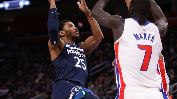DETROIT, MICHIGAN - MARCH 06: Derrick Rose #25 of the Minnesota Timberwolves looks to shoot next to Thon Maker #7 of the Detroit Pistons during the first half at Little Caesars Arena on March 06, 2019 in Detroit, Michigan. NOTE TO USER: User expressly acknowledges and agrees that, by downloading and or using this photograph, User is consenting to the terms and conditions of the Getty Images License Agreement. (Photo by Gregory Shamus/Getty Images)