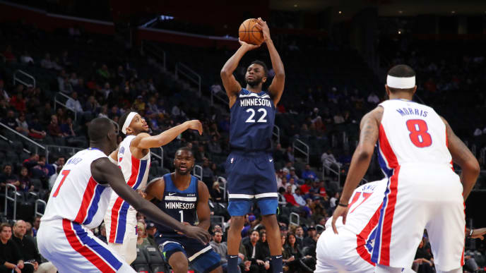 DETROIT, MICHIGAN - NOVEMBER 11: Andrew Wiggins #22 of the Minnesota Timberwolves takes a first half jump shot while playing the Detroit Pistons at Little Caesars Arena on November 11, 2019 in Detroit, Michigan.  NOTE TO USER: User expressly acknowledges and agrees that, by downloading and or using this photograph, User is consenting to the terms and conditions of the Getty Images License Agreement. (Photo by Gregory Shamus/Getty Images)